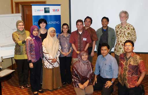 Pete Minor (ImpactECON), Anna Strutt (U. Waikato), and Pooja Pokeral (Nathan Associates) conducting GTAP training in Indonesia